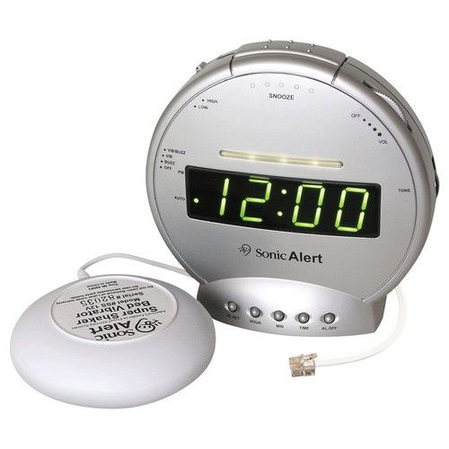 Sonic Alert - Sonic Boom Alarm Clock - Gray - Larger Front