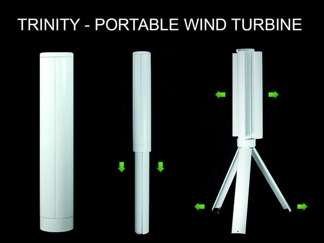 "Trinity - The Portable Wind Turbine Power Station by Skajaquoda — Kickstarter.  Trinity is a portable wind turbine that charges any USB device like your smart phone or tablet and folds together into a 12"" cylinder."