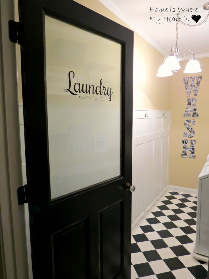 """I found a picture on Pinterest of a half glass door with frosted glass and the word """"Laundry"""" across the window. Source Isn't it beautiful??!! Well, me being the champion copier that..."""