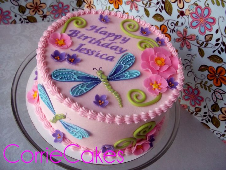 "Birthday Cake Photos - 8"" round iced in BC with MMF decorations- the dragonflies' wings had royal icing piping on the fondant for added detail"