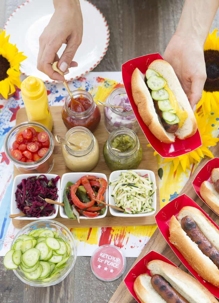 The ultimate 4th of July hot dog spread