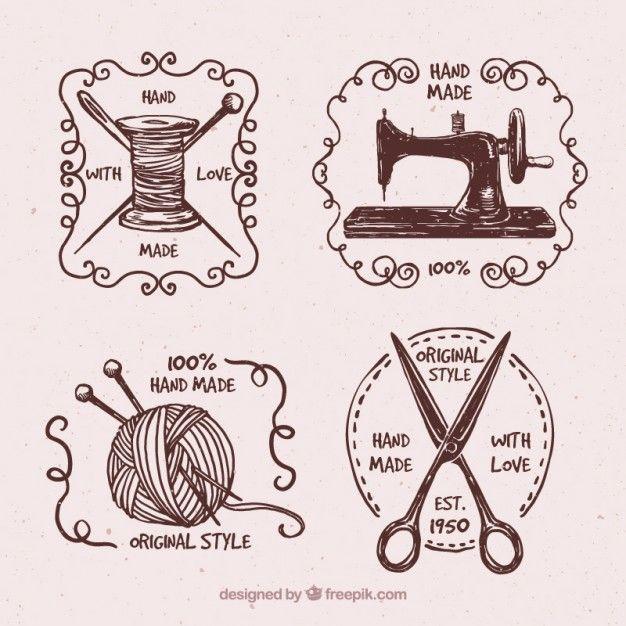 Значки набор рисованной старинные кутюр Бесплатные векторы