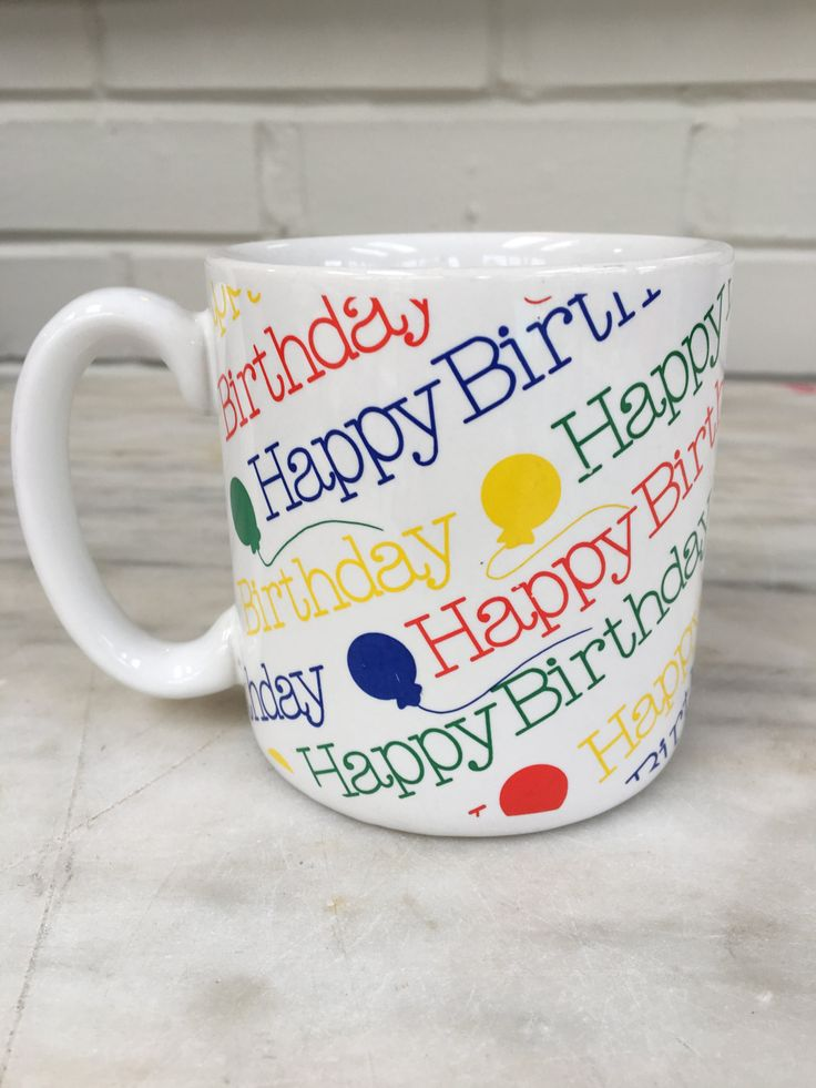 vintage Happy Birthday mug, fib, 1989, made in Korea, 36382, balloons, colorful coffee tea mug by MotherMuse on Etsy