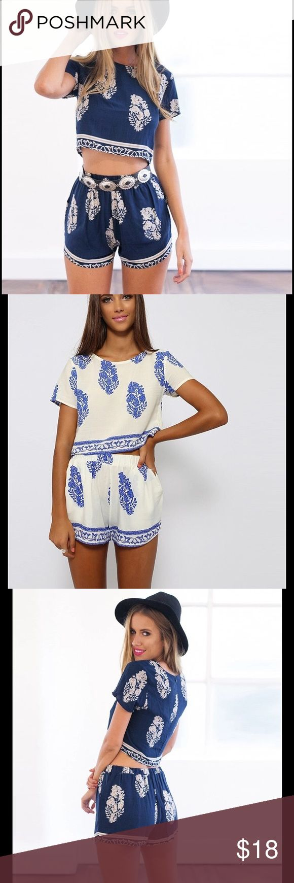 Two piece set short Jumpsuit Gorgeous Jumpsuit! It is so cute and comfy.Summer Style printed. Polyester Material. Check last photo for measurements L and XL coming soon Swim Coverups