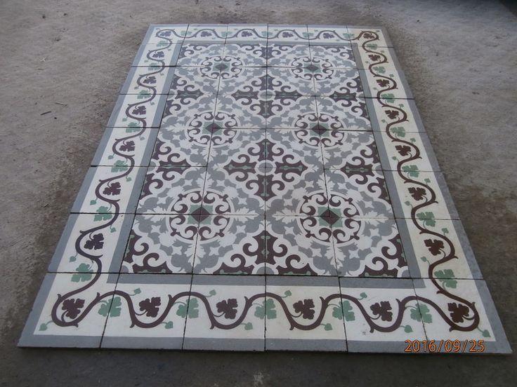 Antique encaustic tiles - panel  203 tiles - 87sq ft floor or wall