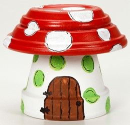 Clay Pot Toadstool Garden Decoration