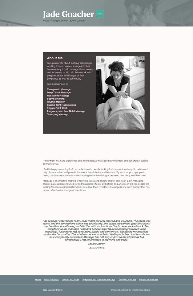 Website design for a masseuse. By Engine Head Studio.
