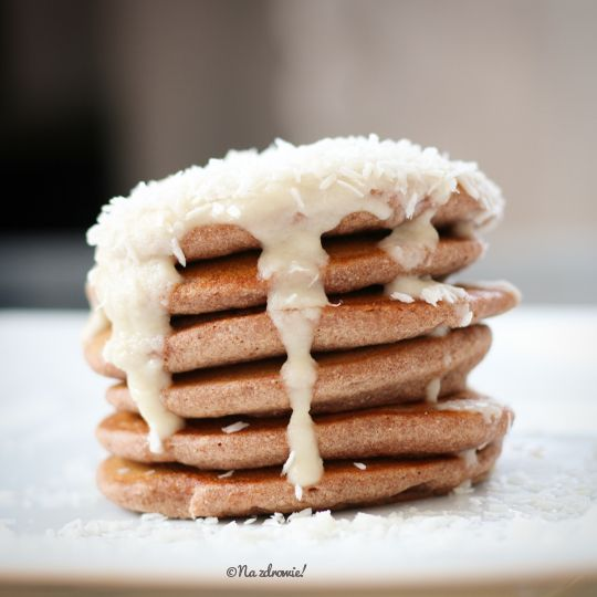 Buckwheat & rice pancakes with coconut topping.