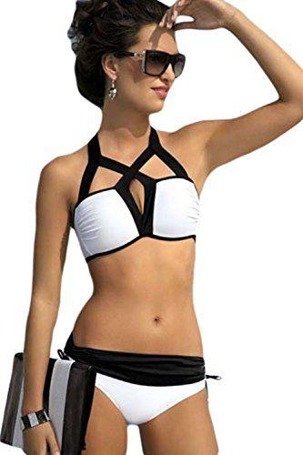 Loveours M�dchen Damen Strand Strappy Schwarz und Wei� Zweiteilige Neckholder Push Up Bikini Set (XL)