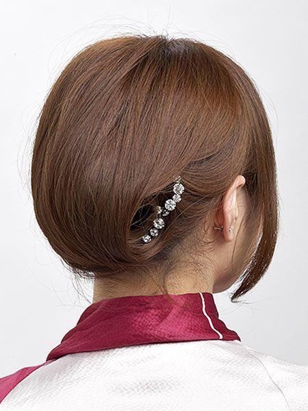 自分でできる髪型 ショートヘア夜会巻きアップスタイル2-3