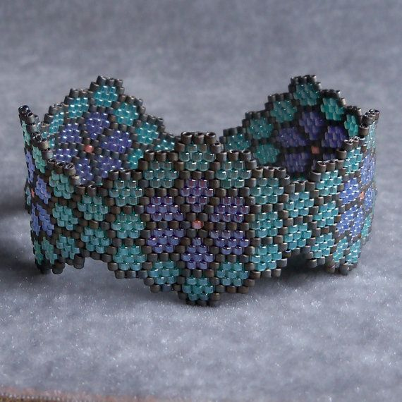 Flowers in Honeycomb Bracelet Green Purple and by CharmedGifts