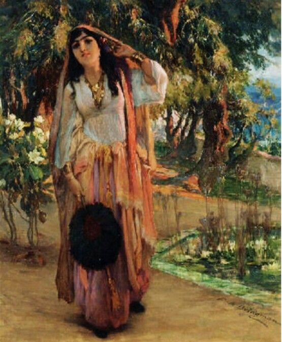 Algérie - Peintre American Frederick Arthur Bridgman (1847-1928) , huile sur toile , Titre : Beauté Mauresque dans un jardin