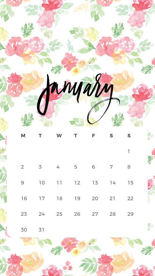 January Calendar iPhone Wallpaper | Fiber & Dye
