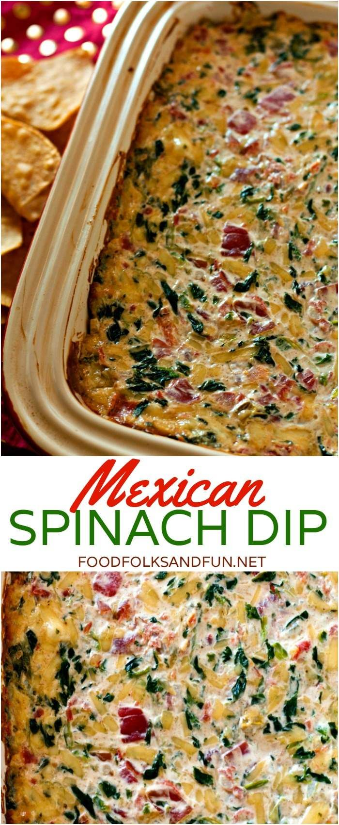 If you love spinach dip and Mexican food then you'll LOVE my Mexican Spinach Dip recipe! In this post you'll also find loads of other tasty Super Bowl recipes! | Super Bowl Dip | Mexican Dip | Queso Dip Recipe