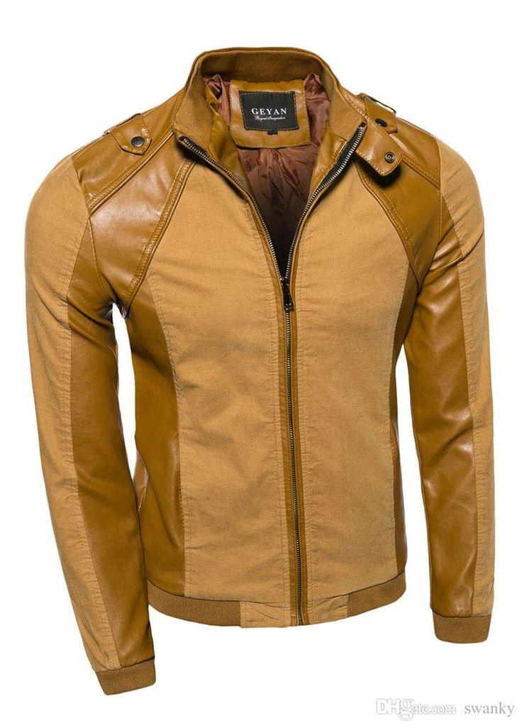 2015 Nueva chaqueta de la PU de la chaqueta de la motocicleta chaqueta de cuero casuales para hombre cuello de la chaqueta delgada para hombre de la chaqueta de los hombres de la llegada marrón 4107