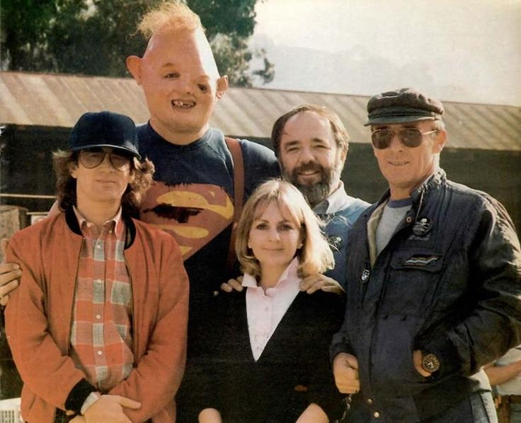 Steven Spielberg and John Matuszak as Sloth with his make-up artists Bari Dreiband-Burman, Tom Burman and Ellis Burman, Jr. from The Burman Studio on the set of The Goonies