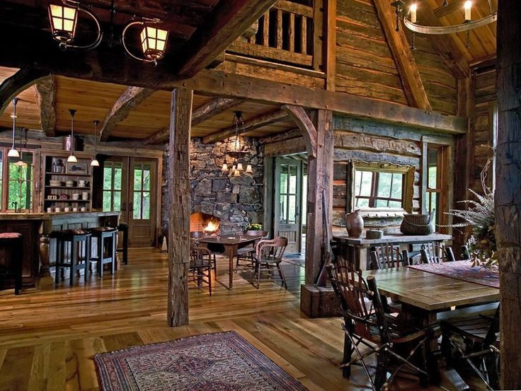 87 best images about lodge style rustic ll on pinterest for Log cabin open planimetrie