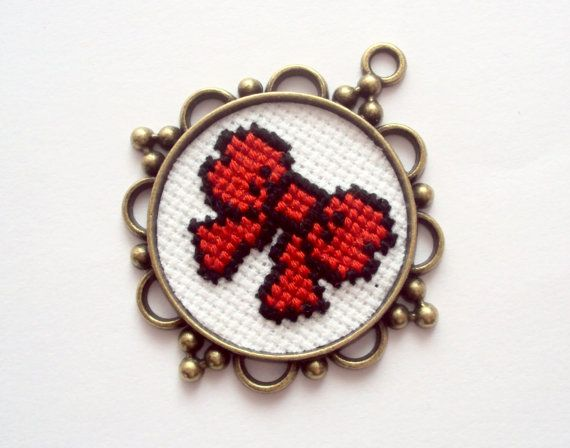 cross stitch pendand red bow by craftinghard on Etsy