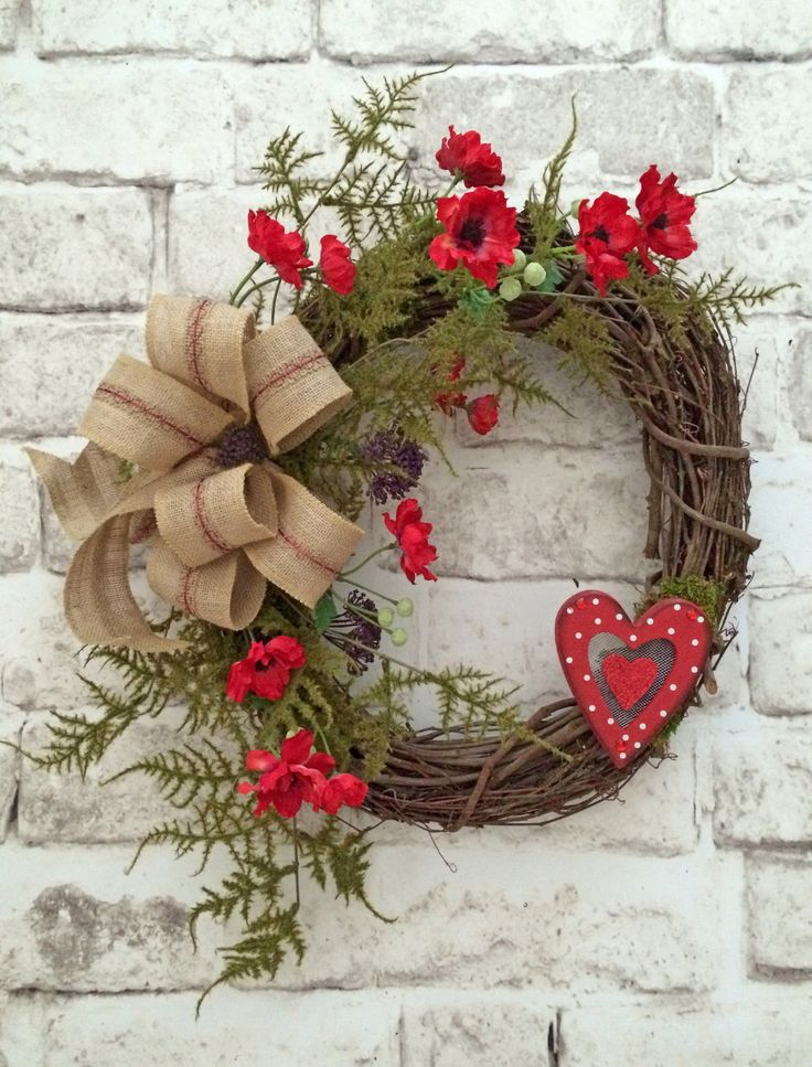 83354cf6fc7ea11aa14f9425ca3ed138 mantel mirrors front door wreaths - Valentine Wreath, Valentines Day Wreath, Valentine Decor, Front Door Wreath, Gra...