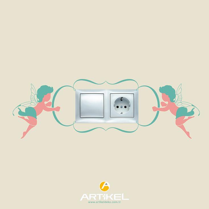 """""""Melekler"""" sticker modeli ile priz'lerinizde renk katın.. #prizsticker #art"""