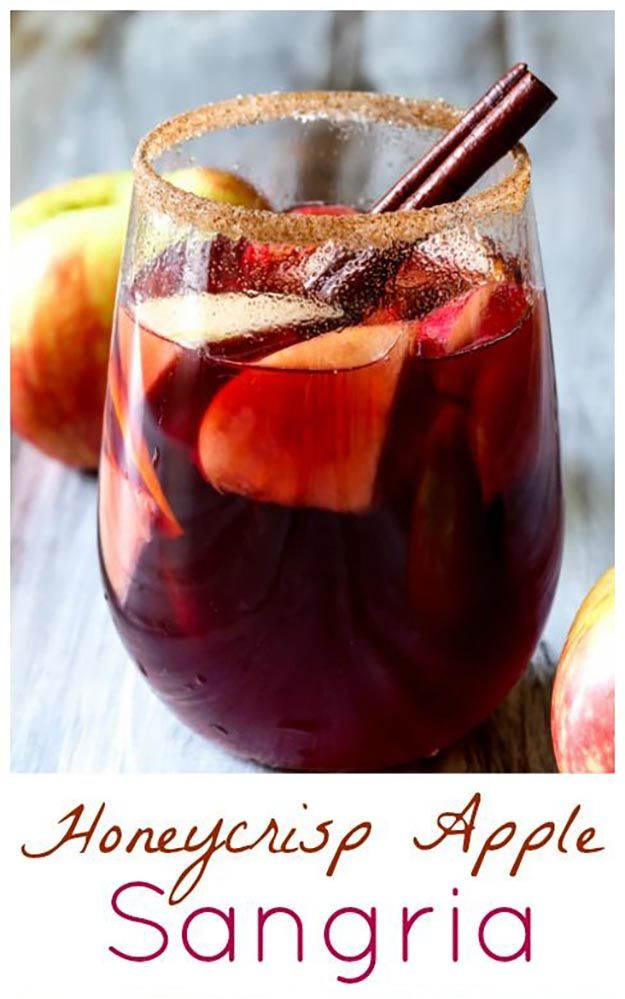 Honeycrisp apple sangria | 9 fall cocktail recipes, see more at http://diyready.com/9-fall-cocktail-recipes-to-pair-with-the-autumn-chill