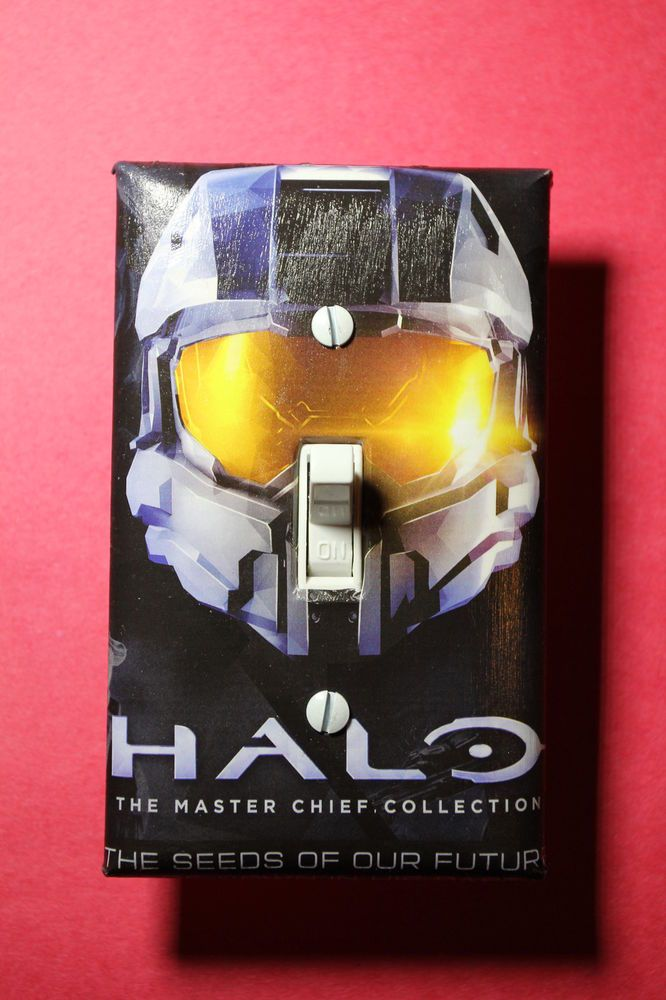Halo Master Chief Video Game Light Switch Cover gamer room decor ps4 ps3 xbox