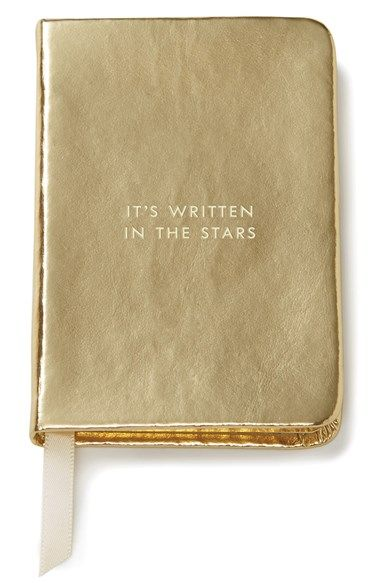 'it's written in the stars' mini notebook by kate spade, embossed metallic cover and satin placeholder