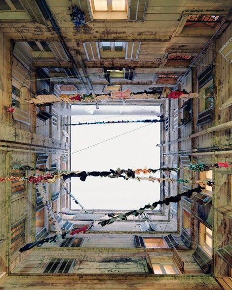 courtyard interiors in Belzunce, Marseilles by Spanish photographer Marie Bovo