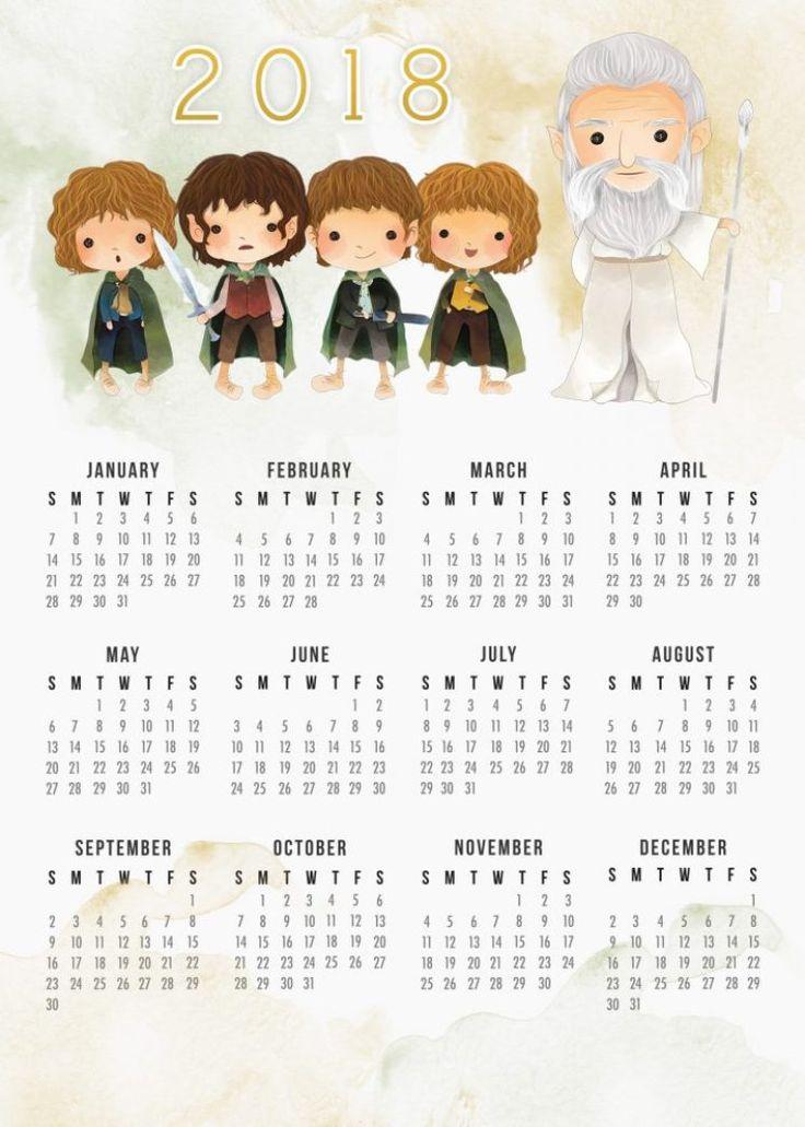 calendário 2018 para imprimir senhor dos aneis