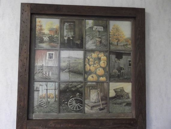 pumpkins home interiors | Vintage Rare Home Interior Window Pane