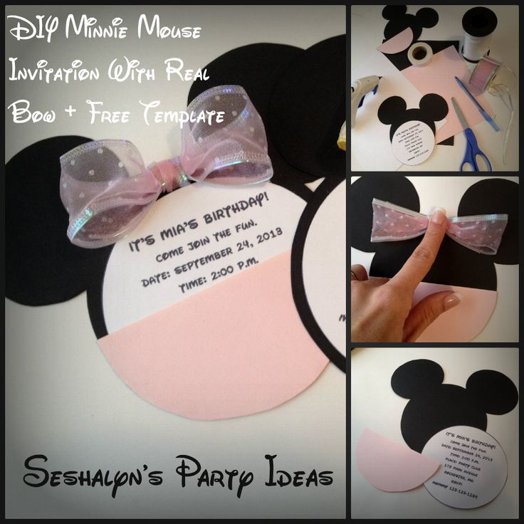DIY Minnie Mouse Invitation Tutorial + Free Template! #minniemouse DIY #Invitation