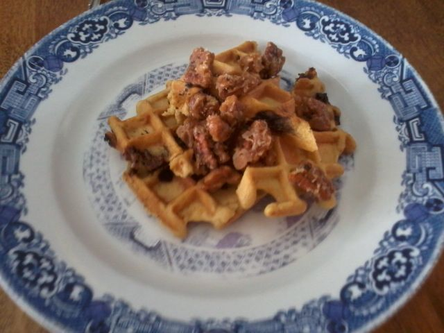 Chocolate chip waffles with Candied pecans <3 #GlutenFree #DairyFree #Breakfast #Waffle