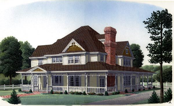 House Plan 95576 | Country   Farmhouse  Victorian    Plan with 3852 Sq. Ft., 4 Bedrooms, 4 Bathrooms, 2 Car Garage
