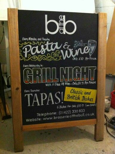 Blackboard for The Brasserie at The Bull, Halifax