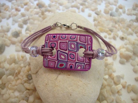 Magenta Polymer Clay Retro Bracelet | INSPIRACION | Pinterest | Polymer clay, Clay and Polymer clay jewelry