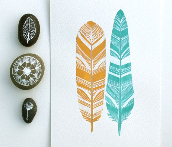 Feather Art  Watercolor Painting  Archival Print  by RiverLuna, $20.00