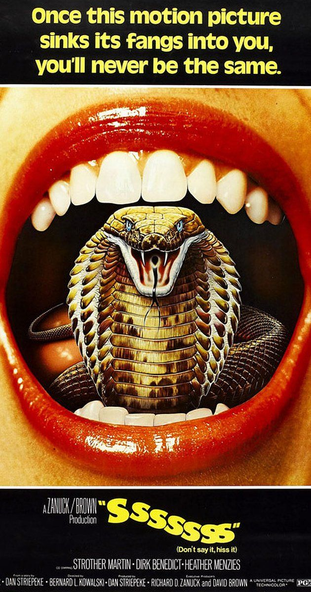 SSSSSSS by Bernard L. Kowalsky, US, 1973. A crazy scientist injects his unsuspecting assistant (Dirk Benedict) with a serum causing him to gradually turn into a King Cobra. Watch the trailer http://www.celluloiddiaries.com/2017/06/animals-run-amok.html (horror movies, horror films, snake movies, snake films, killer snakes, Cinematek, Brussels, B movies, Z movies, Ssssilbido de muerte)