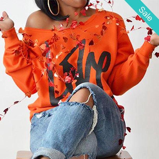 "Women's Bright Orange ""Love"" Off the Shoulder Pullover Sweatshirt   - On Sale for $27.56 (was $52.00)"