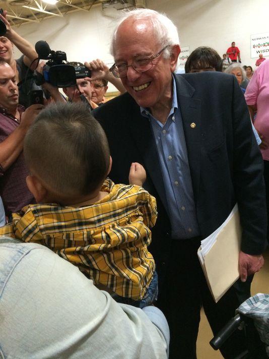 Bernie Sanders visits Native American settlement in Iowa