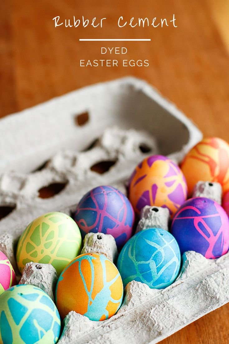 Coloring Easter Eggs w/ Rubber Cement -- this rubber cement Easter eggs technique produces some spectacularly high contrast, gorgeous abstract designs! Works great on hard-boiled eggs or use it on blown-out eggs to preserve them for years to come...
