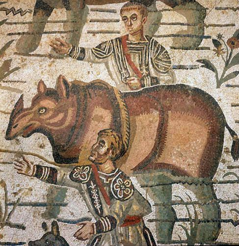 Rhinoceros being captured for Roman games, third to fourth century Roman floor mosaic in imperial villa at Piazza Armerina, Sicily