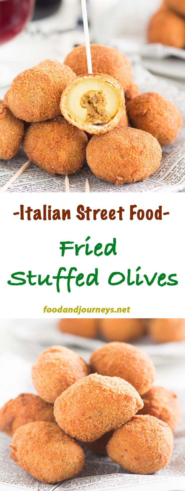 Italian   Street Food   Appetizer   Snack   Fried Olives. A popular street food from Marche, a region in central Italy. These green olives stuffed with minced meat are also great as an appetizer or snack. Best served HOT!
