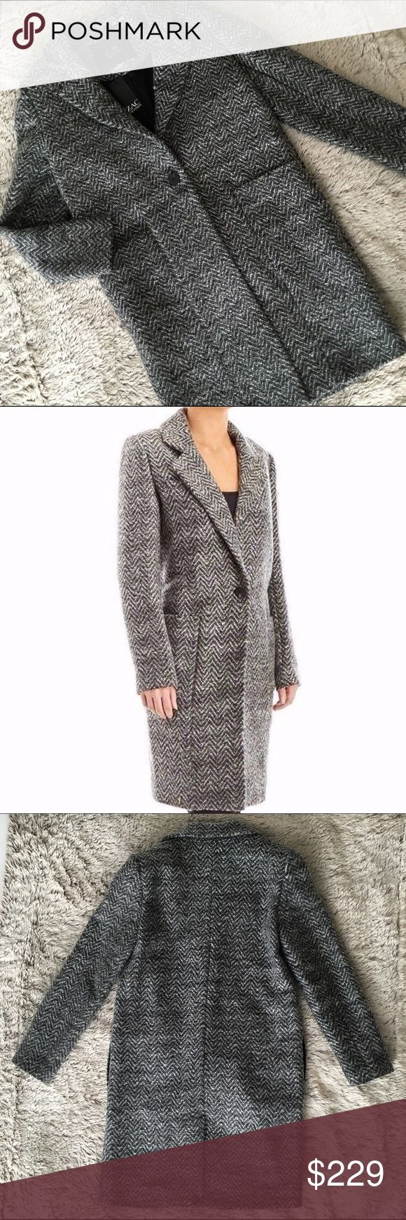 """NWT- Zac Posen Boyfriend Coat New w tags. A Zac Zac Posen boyfriend style 'Giselle' coat in 'moonstone', a herringbone print.  The boyfriend style fit has a slim straight cut and one button closure.  A notched collar with 2 front patch pockets and 2 side pockets.  Black lining throughout. Back vent(unopened). Approx 38"""" length. Sleeves are approx. 33"""". Gorgeous for Fall💕 Zac Posen Jackets & Coats"""