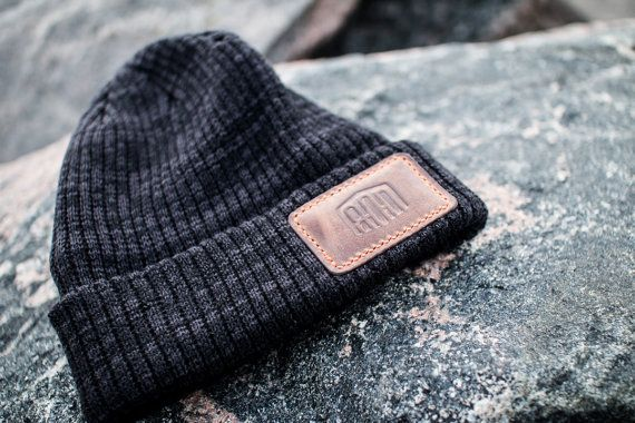 Knit charcoal grey tuque with 80D Leather patch by EightyDLeather