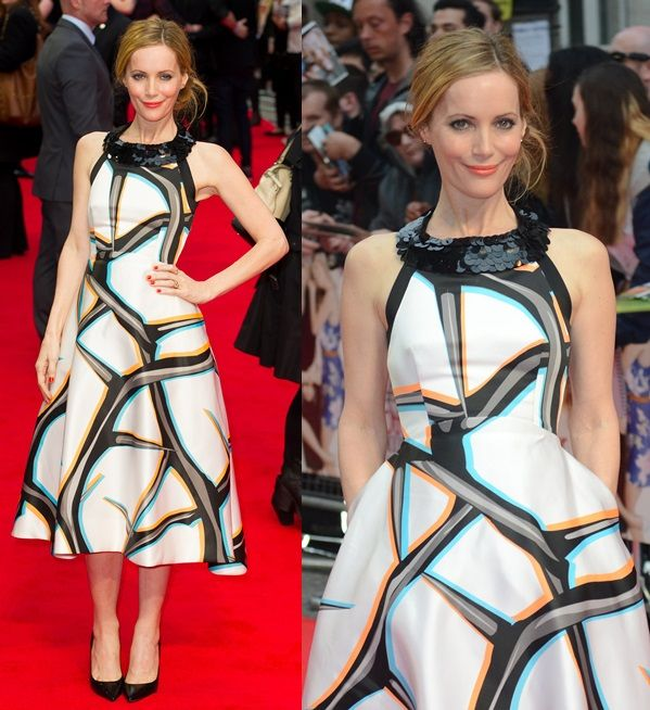 Leslie Mann picking a modern yet conservative dress for the premiere of The Other Woman in London, England, on April 2, 2014