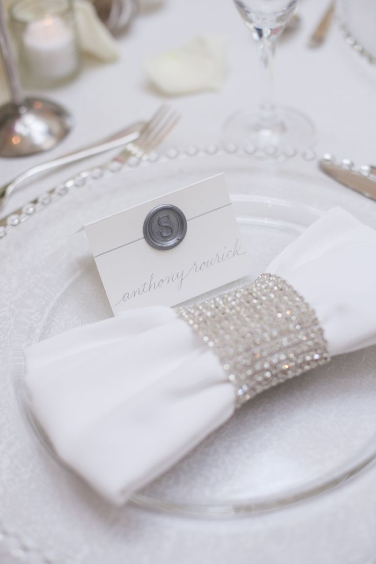 Napkin, Diamond Bling Band, Glass Beaded Charger Plate, Linen. St. Regis Monarch Beach, San Diego Weddings by Gina, White Haute Photography, Organic Elements, Concepts Event Design