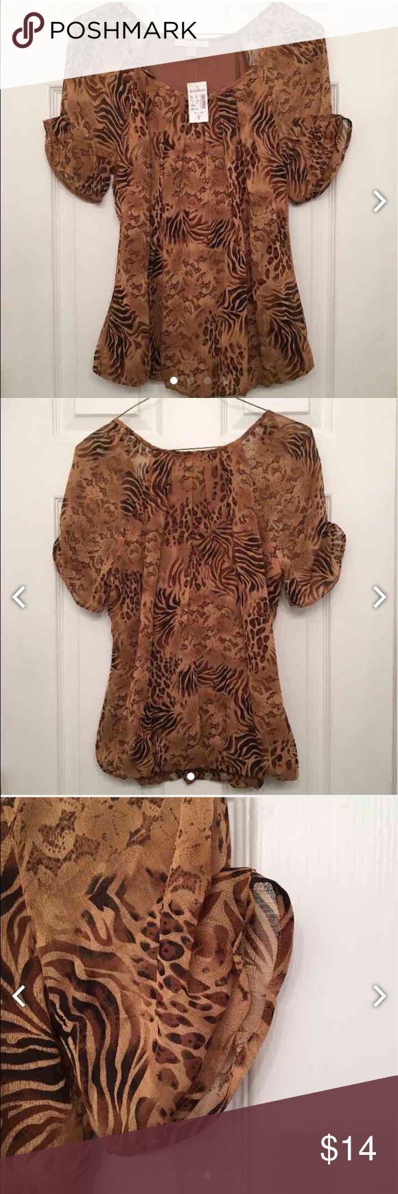 Women's Dress Shirt Very cute animal print dress shirt, sold by dressbarn. Dress Barn Tops Blouses