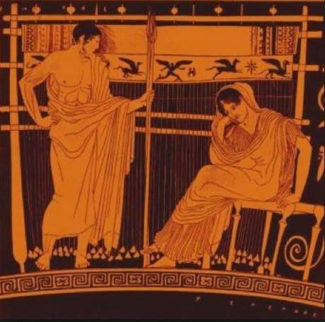 Penelope al telaio con il figlio Telemaco, skyphos attico a figure rosse, 440-435 a.C.