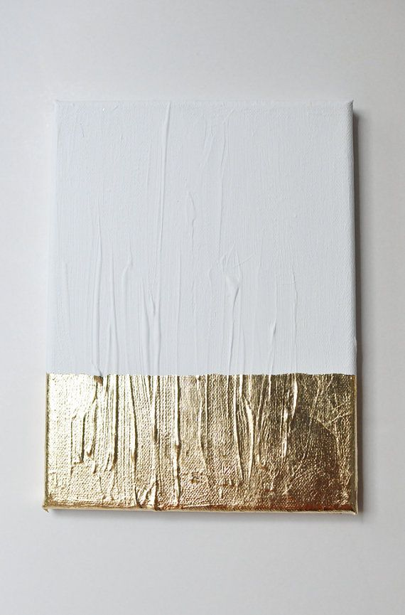 Modern contemporary gold white painting on canvas G12