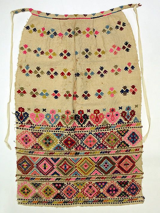 Embroidered apron, part of an ensemble from Attica (Greece).  Late 19th century.